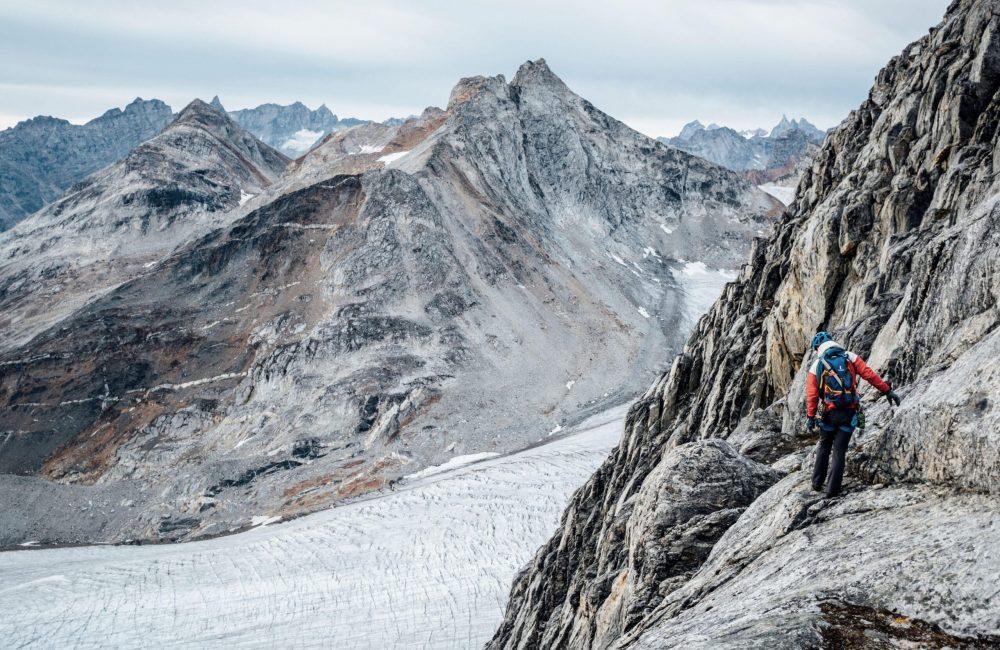Climbing descent in Tasiilaq Fjord-min